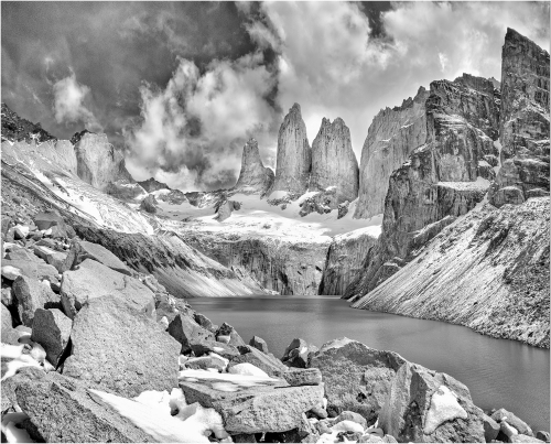 Towers of Paine from high boulder field by John Macfarlane